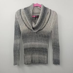 Heart N Crush Cowl Neck Sweater Ribbed Speckled